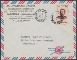 "Madagascar 1954, Airmail Cover ""M.Jivanram Damjee"" Majunga To Marseille W./postmark Majunga - Madagascar (1889-1960)"