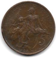 *france 5 Centimes 1908  Km 842  Vf+ - France