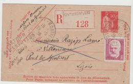 FS794  FRANKREICH -/ Kartenbrief (Letter Card) 1935  Pont De Montveri Mit Zusatzmarke Per Einschreiben Und Wieder Zurück - Ganzsachen