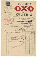 FACTURE DOCUMENT COMMERCIAL PUBLICITAIRE ILLUSTREE R° V° BOUILLON CUBE OXO Cie LIEBIG Pot Au Feu LEZIGNAN BRACHER - France