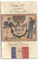 SOUVENIR OFFERT PAR LE MATIN -COURSE ALGER-TOULON MAI 1905- BON POUR LE SERVICE -CONSEIL DE REVISION .CLASSE 1905. - Documents