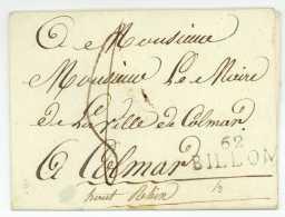 62 BILLOM (Puy-de-Dome) – LSC Pour Colmar (Haut-Rhin), Au Dos Très Beau Cachet De Cire. S.d. - Marcophilie (Lettres)