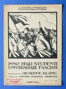 Musica Spartito - Inno Degli Studenti Universitari Fascisti - 1927 - Music & Instruments