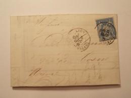 Marcophilie  Cachet Lettre Obliteration Timbre  - LYON 25 Cent. Type Sage 1877  (761) - Marcophilie (Lettres)