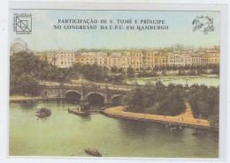 S. Tome E Principe PARTICIPATION UPU CONGRESS HAMBURG POSTCARD 1984 - UPU (Wereldpostunie)