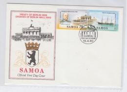 Samoa TREATY OF BERLIN 1889 OPENING OF BERLIN WALL 1989 FDC 1990 - Samoa (Staat)