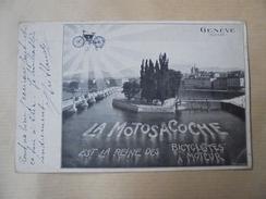 C P A ANIMEE  LA MOTO SACOCHE REINE DES BICYCLETTES A MOTEUR CIRCULEE - GE Genève