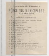 23  -  CREUSE  -  DONTREIX  -   ELECTIONS MUNICIPALES   -  Candidats Républicains -  1908 - Bulletin De Vote - Historical Documents