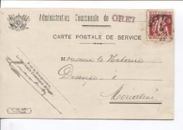 TP 339 S/CP De L'Administration Communale De Oret C.Mettet 7/9/1935 + Griffe (Communale) V. Morialmé 316 - Griffes Linéaires