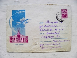Postal Stationery Cover From Ussr 1962 Kazan Airport Plane Savion Airplanes Sent From Russia Molvino To Lithuania - Briefe U. Dokumente
