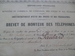 Brevet 1904 De Monteur Des Téléphones Paris - Diplomi E Pagelle