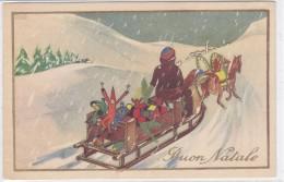 CARD BUON NATALE BABBO NATALE PERE NOEL SLITTA GIOCATTOLI FIRMATA -FP-N-2-  0882-25956 - Santa Claus