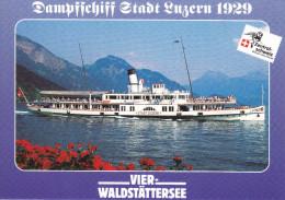 Ak Vierwaldstättersee, Dampfschiff Stadt Luzern 1929 - Ferries