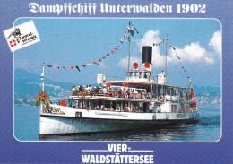 Ak Vierwaldstättersee, Dampfschiff Unterwalden 1902 - Ferries