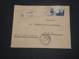 ALGERIE – Env Recommandée Pour La France – Détaillons Petite Archive - A Voir – Lot N° 18968 - Algérie (1924-1962)