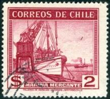 CILE, CHILE, 1939, VISTE DEL PAESE, INDUSTRIA, MARINA MERCANTILE, FRANCOBOLLO USATO, Scott 207 - Chile