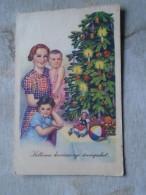 D140757  Hungary  Christmas Postcard  Family  Children  Cristmas Tree - Christmas