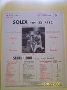 PLANCHE TECHNIQUE. SOLEX.    100_2633CPLTMELU. - Machines