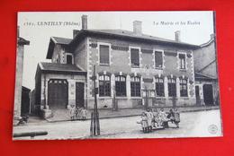 1 CP Lentilly (Rhône) La Mairie Et Les Écoles, Animée, Enfants - Autres Communes