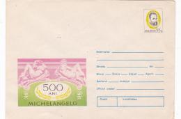 #BV3411 MICHELANGELO, SCULPTURE, ART, COVER STATIONARY,1975, ROMANIA. - Sculpture