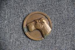 Belle Médaille Représentant Un Chien De Chasse , Type Terrier, Signée Par Le Graveur  C. CHARL . - Professionals/Firms