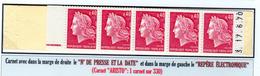 M. De Cheffer 0,40F (1536B**)  Carnet De 10 T (conf. N° 2)  N° Presse, Date: Marge Droite, RE à Gauche (ARISTO: 1/330) - Carnets