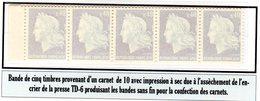 M. De Cheffer 0,40F (1536B**)  Bande De 5 Timbres D'un Carnet De 10 T: Impression à Sec - Usage Courant