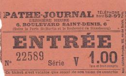 #BV3439  CINEMA PATHE-JURNAL,PARIS, ENTRENCE TICKET, FRANCE. - Eintrittskarten