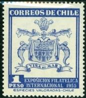 CILE, CHILE, COMMEMORATIVO, MOSTRA FILATELICA VALPARAISO, 1955, FRANCOBOLLO NUOVO (MLH*), Scott 286 - Cile