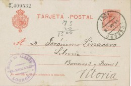 19471. Entero Postal LOGROÑO 1918. Alfonso XIII Medallon, Edifil Num 49n º