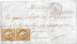 Lettre Paire N°1 Cérès Bistre Obl PC 2611 QUIMPER 1852 Pour Péronne Finistère - 1849-1850 Ceres