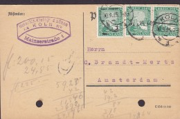 Germany Deutsches Reich HEINRICH KLEIN Jr. & Söhne, KÖLN 1925 AMSTERDAM Netherlands 3x Rheinland Stamps (2 Scans) - Deutschland