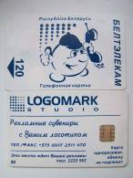 Cartoon Guy Phoning Rain B2 Beltelecom BELARUS Square Chip Phone Card From Weissrussland Carte Karte 120un. Logomark