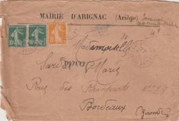Yvert 158 + 159 X 2 Semeuse Sur Lettre Entête Mairie D'Arignac Ariège Cachet Tarascon 29/8/1923 - Voir Scan - Frankreich