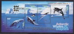 """AAT 1996 Whales & Dolphins M/s Overprinted """"Capex"""" ** Mnh (32493) - Australisch Antarctisch Territorium (AAT)"""