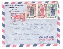 Vietnam Lettre 4 Timbres Viet Nam Cong Hoa Cachet Dalat 1962 Collegium Pontificium Sancti Pii X à Destination France - Vietnam