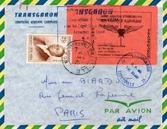 VIGNETTE  POSTE AERIENNE  SUR PLI  ET ISOLE TRANSGABON 1963 + Doc - Gabon