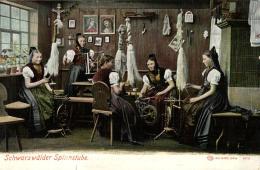 Allemagne - Schwarzwälder Spinnstube - Atelier - Rouets - Fileuses. - Craft