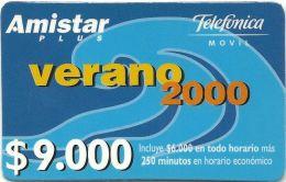 Chile - Telefonica Movil - Verano 2000 Amistar - 9.000CP$, GSM Refill, Exp. 29.02.2000, Used - Chile