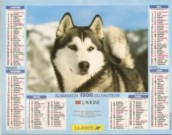ALMANACH  DU  FACTEUR  1996   Meurthe Et Moselle.   HUSKY   /  BERGERS  ALLEMANDS - Kalender
