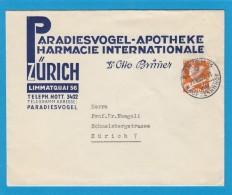 PARADIESVOGEL-APOTHEKE,PHARMACIE INTERNATIONALE ZURICH. - Briefe U. Dokumente