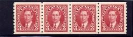 CANADA. 1937, # 240, KGV1 ERA, COIL  ISSUE,  STRIP OF 4 M NH - 1937-1952 Règne De George VI