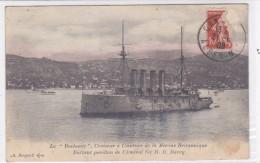 CARD INCROCIATORE A CEINTURE DELLA MARINA BRITANNICA BATTENTE BANDIERA ADMIRAL SIR H.D.BARRY  -FP-V-2-  0882-25968 - Warships
