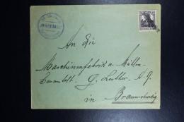 Poland Cover 1918 ZAWIERCIE Local Stamp FORERUNNER Line Cancel  German Occupation (Ruch Hand-stamp) To Braunschweig RRR - 1919-1939 Republik
