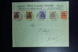 Poland: 1919 Company Cover Mi Nr 130 - 134 Cancel GNESEN (German Cancel) Almost 1 Year After War