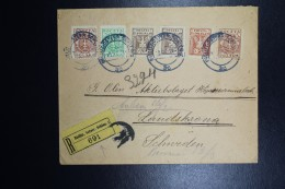 Poland: 1919 Registered Cover Bielitz Bielsko To Landskrona Sweden, Austrian Cancel  Bielitz 1 OSTERR SCHLES + R Label - Briefe U. Dokumente