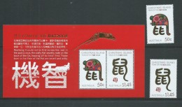 Christmas Island 2008 Chinese New Year Rat Set 2 + Miniature Sheet MNH - Christmas Island