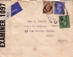 GUERRE 39-45 - GRANDE BRETAGNE - BANDE DE CENSURE PC90 - CACHET POST OFFICE MARITIME MAIL - GRAND CACHET ROND POUR TUNIS - Postmark Collection