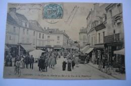 CPA 37 INDRE ET LOIRE LOCHES. La Place Du Marché Au Blé Et La Rue De La République.