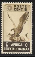 Italian Eastern Africa, Scott #2 Mint Hinged Eagle And Lion, 1938, Tiny Thin - Italian Eastern Africa